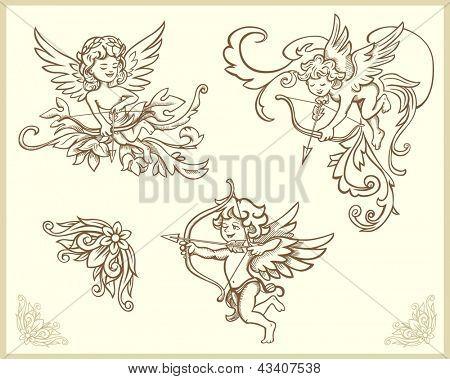 Cupids illustration set