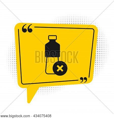 Black No Water Bottle Icon Isolated On White Background. No Plastic Bottle. Water Bottle Ban Sign. Y