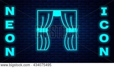 Glowing Neon Circus Curtain Raises Icon Isolated On Brick Wall Background. For Theater Or Opera Scen