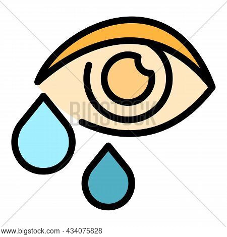 Crying Allergy Eye Icon. Outline Crying Allergy Eye Vector Icon Color Flat Isolated