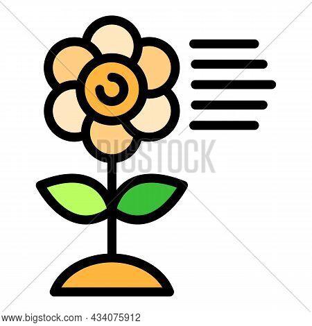 Allergen Flower Icon. Outline Allergen Flower Vector Icon Color Flat Isolated
