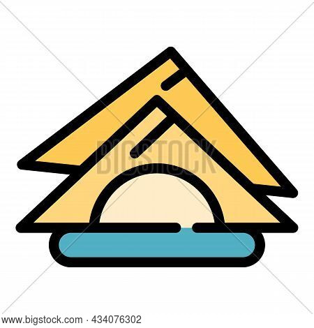 Folded Napkins Icon. Outline Folded Napkins Vector Icon Color Flat Isolated