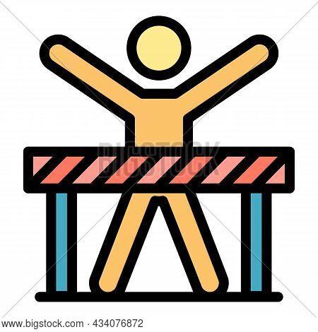 Careless Road Worker Icon. Outline Careless Road Worker Vector Icon Color Flat Isolated