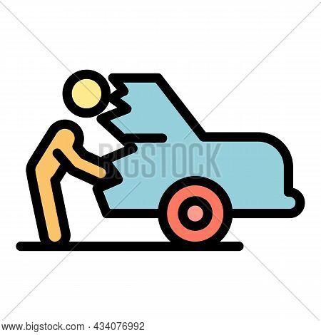 Careless Person Car Broken Icon. Outline Careless Person Car Broken Vector Icon Color Flat Isolated
