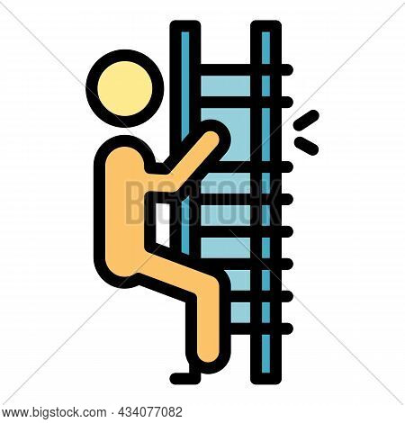 Broken Ladder Careless Person Icon. Outline Broken Ladder Careless Person Vector Icon Color Flat Iso