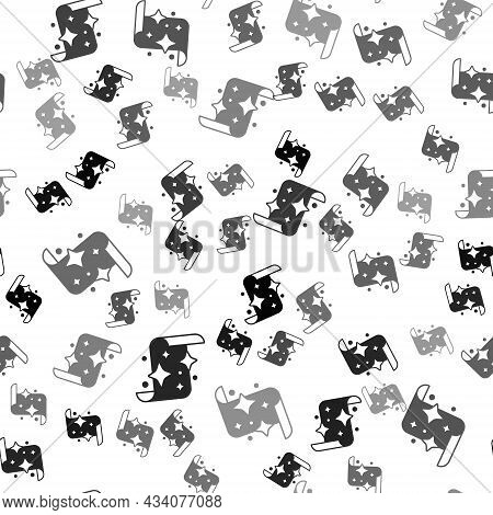 Black Magic Scroll Icon Isolated Seamless Pattern On White Background. Decree, Paper, Parchment, Scr