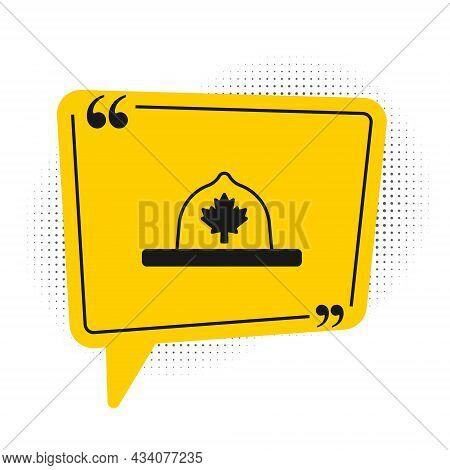 Black Canadian Ranger Hat Uniform Icon Isolated On White Background. Yellow Speech Bubble Symbol. Ve