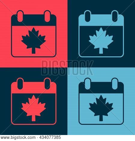 Pop Art Canada Day With Maple Leaf Icon Isolated On Color Background. 1-th Of July Independence Day