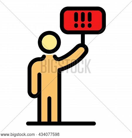 Protest Man Banner Icon. Outline Protest Man Banner Vector Icon Color Flat Isolated