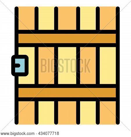 Prison Gate Icon. Outline Prison Gate Vector Icon Color Flat Isolated