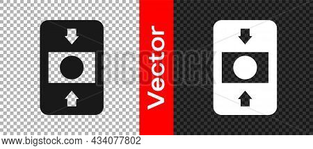 Black Fire Alarm System Icon Isolated On Transparent Background. Pull Danger Fire Safety Box. Vector