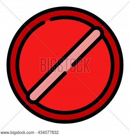 Restricted Sign Icon. Outline Restricted Sign Vector Icon Color Flat Isolated