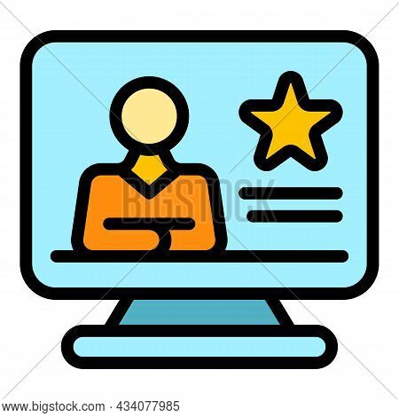 Online Dislike Icon. Outline Online Dislike Vector Icon Color Flat Isolated