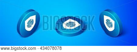 Isometric Wooden Logs Icon Isolated On Blue Background. Stack Of Firewood. Blue Circle Button. Vecto