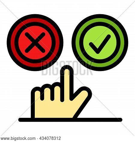 Choose Like Or Dislike Icon. Outline Choose Like Or Dislike Vector Icon Color Flat Isolated