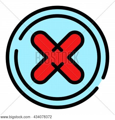 Online Rejected Icon. Outline Online Rejected Vector Icon Color Flat Isolated