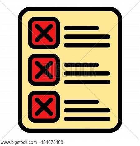 Rejected To Do List Icon. Outline Rejected To Do List Vector Icon Color Flat Isolated
