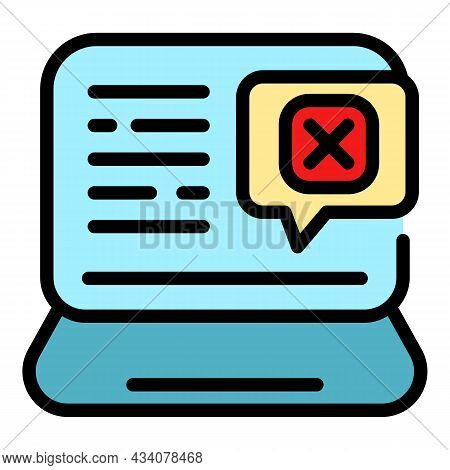 Laptop Online Dislike Icon. Outline Laptop Online Dislike Vector Icon Color Flat Isolated