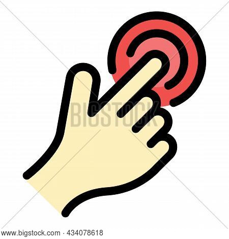 Touch Sense Icon. Outline Touch Sense Vector Icon Color Flat Isolated
