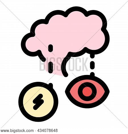 Brain And Senses Icon. Outline Brain And Senses Vector Icon Color Flat Isolated