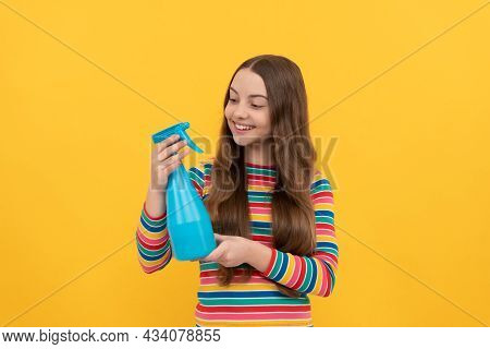 Right Solution For Every Spray Task. Happy Child Hold Spraying Bottle. Spray Product