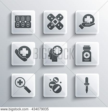 Set Medicine Pill Or Tablet, Pipette, Bottle, Male Head With Hospital, Magnifying Glass For Search M