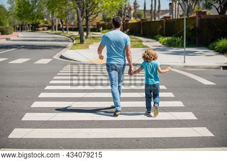 Back View. Father And Son Walk On Zebra Crossing. Family Value. Parent Leading Small Child