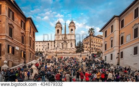 Rome, Italy - December 2 2018: View Of The Crowded Spanish Steps With The Church Of The Santissima T