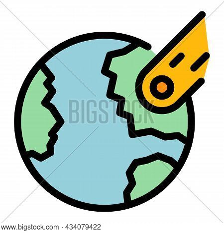 Earth Planet Comet Icon. Outline Earth Planet Comet Vector Icon Color Flat Isolated