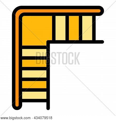 Staircase Icon. Outline Staircase Vector Icon Color Flat Isolated