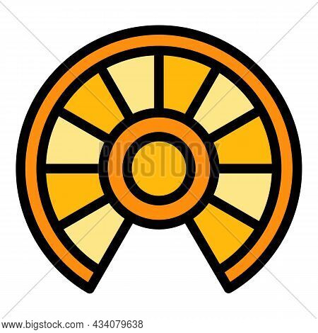 Wood Circular Staircase Icon. Outline Wood Circular Staircase Vector Icon Color Flat Isolated