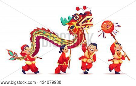 Cny Parade People Dance With Paper Dragon Isolated On White. Vector Chinese New Year Celebration, Pe