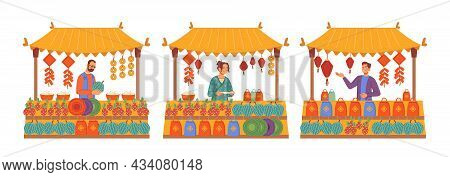 Shopping On Market, Chinese New Year Holiday Fair, Sellers At Counter Stands Isolated Flat Cartoon I