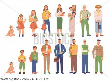 Different Generations Isolated Human Life Age, Flat Cartoon People. Vector Kids And Adult Female Mal