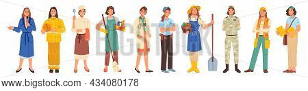Different Occupations, Woman Workers Professions Set Isolated Flat Cartoon Characters. Vector Police