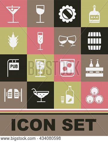 Set Wooden Barrels, Pack Of Beer Bottles, Bottle Cap, Glass Champagne, Hop, Martini Glass And Cognac