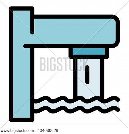 Tap Water Pool Icon. Outline Tap Water Pool Vector Icon Color Flat Isolated