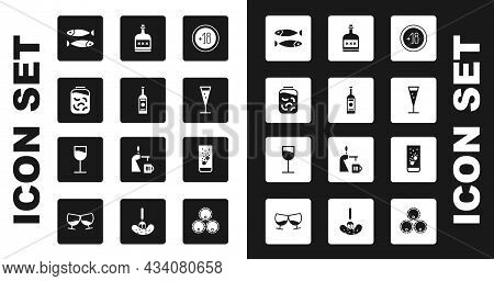 Set Alcohol 18 Plus, Glass Bottle Of Vodka, Pickled Cucumbers In Jar, Dried Fish, Champagne, Drink R