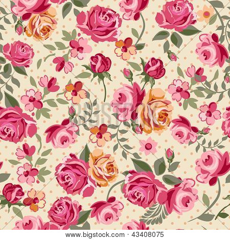 Classic small rose seamless background