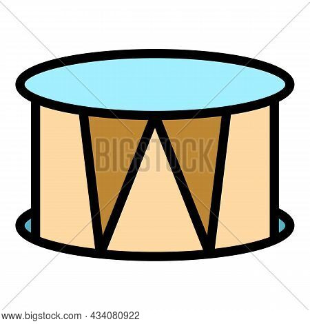 Snare Drum Icon. Outline Snare Drum Vector Icon Color Flat Isolated