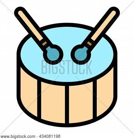 Drum Bass Music Icon. Outline Drum Bass Music Vector Icon Color Flat Isolated