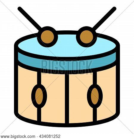 Beat Drum Icon. Outline Beat Drum Vector Icon Color Flat Isolated