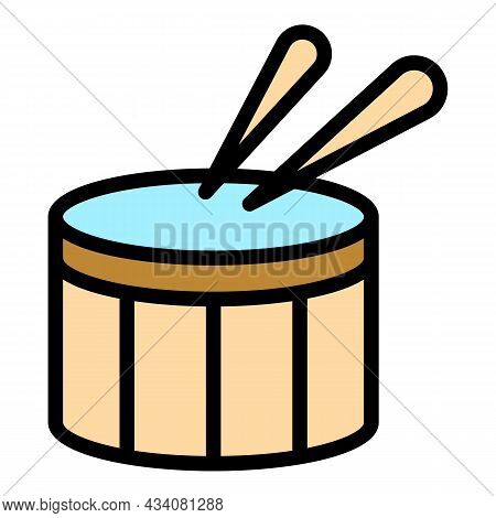Drummer Instrument Icon. Outline Drummer Instrument Vector Icon Color Flat Isolated