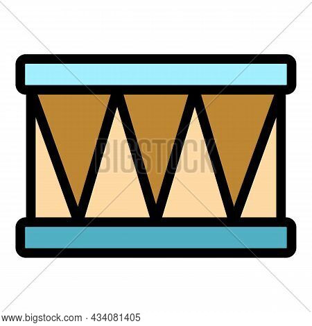 Battery Drum Icon. Outline Battery Drum Vector Icon Color Flat Isolated