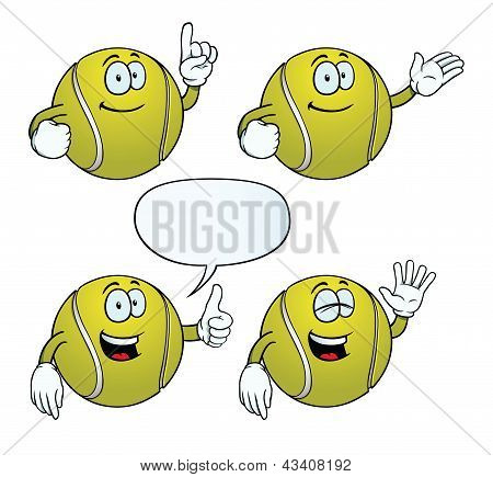 Smiling tennis ball set