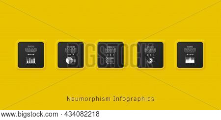 Neumorphism Infographics Template For Chart, Diagram, Web Design, Presentation, Workflow Layout