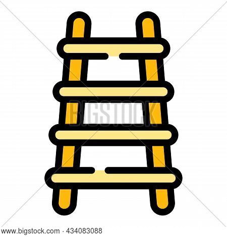Step Ladder Icon. Outline Step Ladder Vector Icon Color Flat Isolated