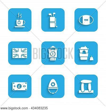 Set Big Ben Tower, British Police Helmet, Stonehenge, Coffee Cup Go, Pound Sterling Money, Flag Grea