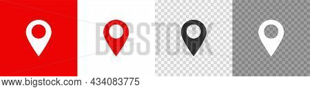 Set Map Pin Icon In Flat Style. Button Gps Pointer, Vector