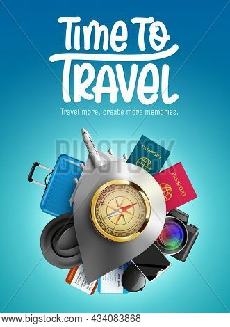 Travel Time Vector Design. Time To Travel Text With Compass, Airplane, Luggage Bag And Passport Tour